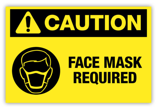 Caution – Face Mask Required Label Ver. 2
