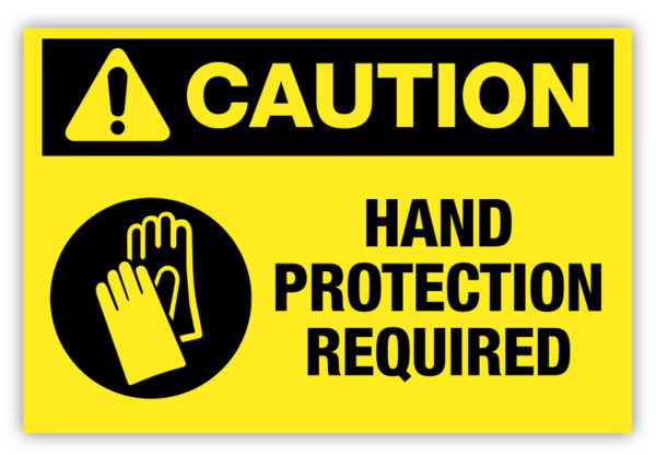 Caution – Hand Protection Required Label