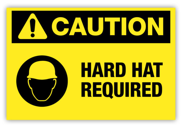 Caution – Hard Hat Required Label