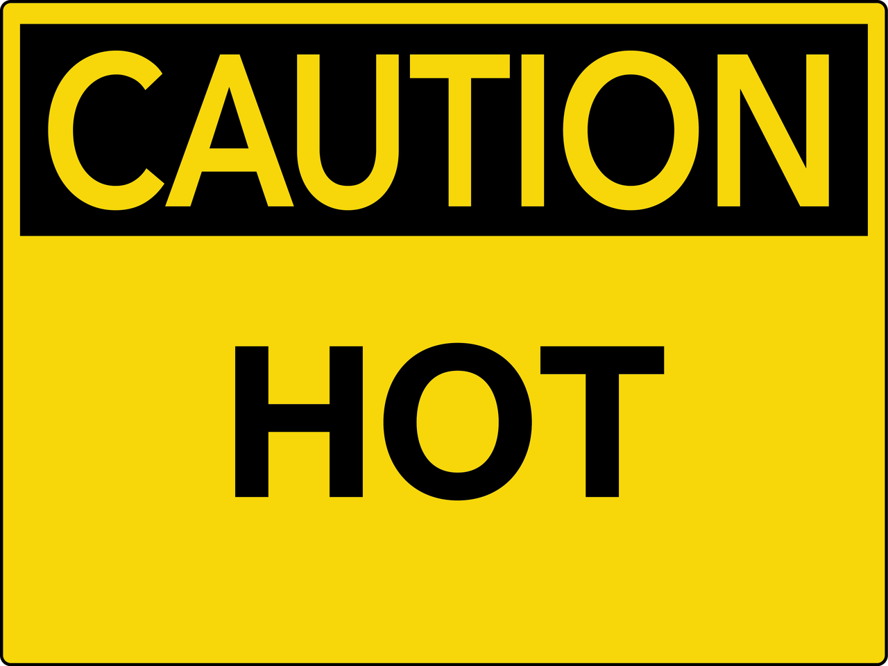 Caution Hot Wall Sign Phs Safety