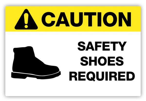 Caution – Safety Shoes Required Label