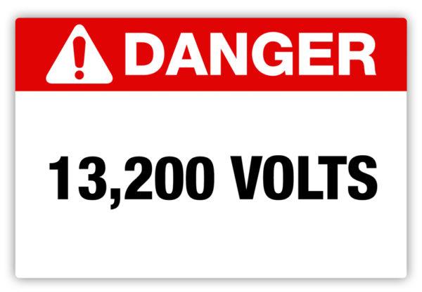 Danger – 13,200 Volts Label
