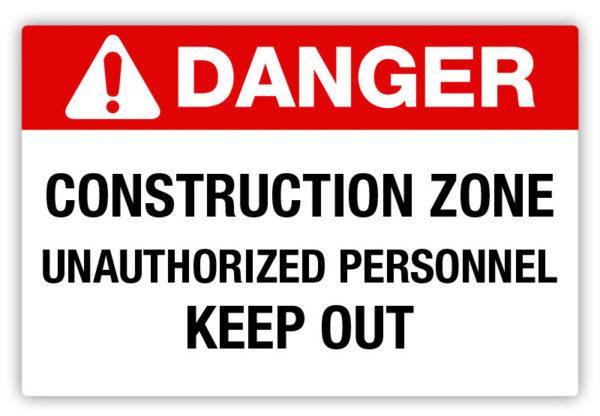 Danger – Construction Zone Label