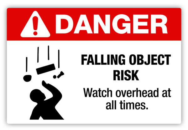 Danger – Falling Object Risk Label