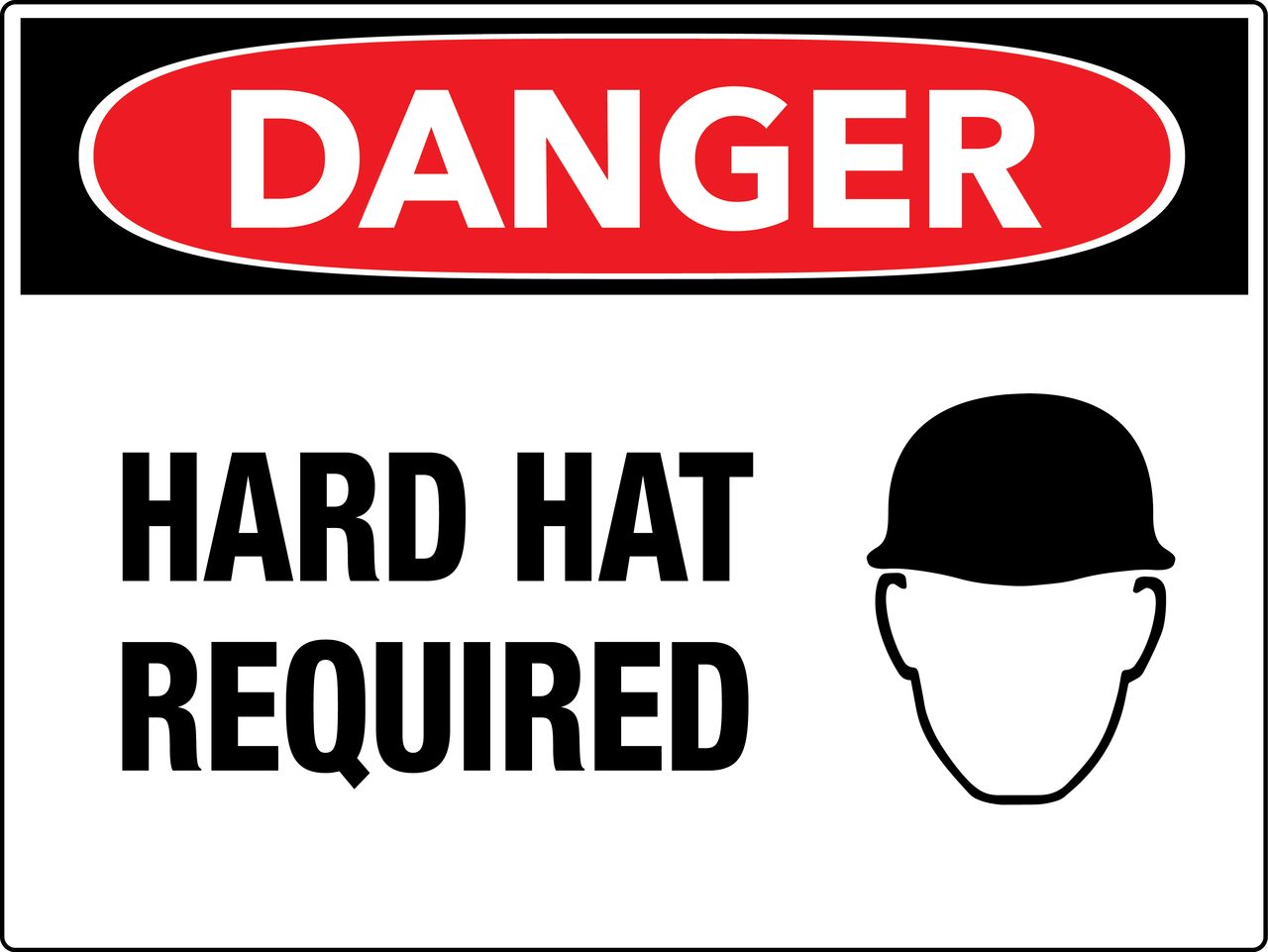 Danger Hard Hat Required Wall Sign Phs Safety
