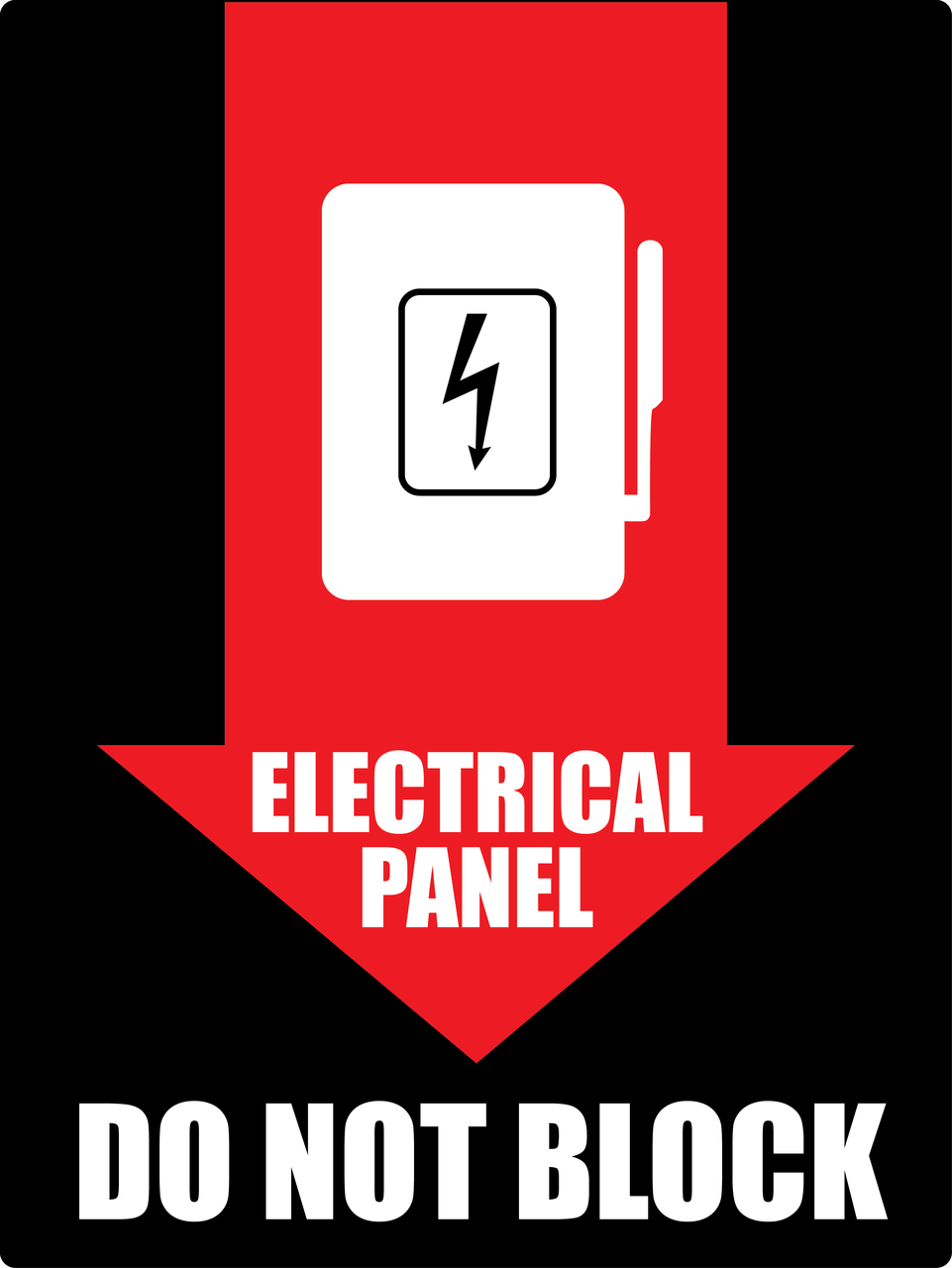 Electrical Panel Do Not Block Wall Sign - PHS Safety on garage space, solar panel space, roof space, electrical wiring, heater space,