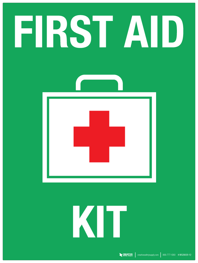 First Aid Kit With Red Cross Wall Sign Phs Safety