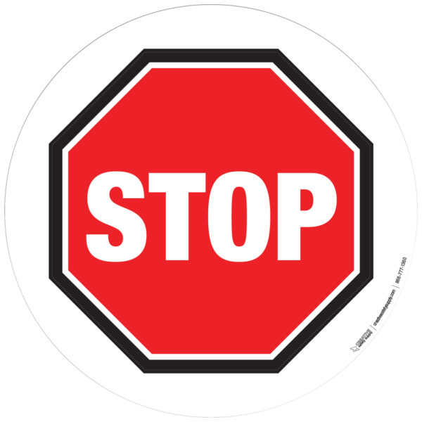 Floor Sign – Basic Stop Sign with White Background