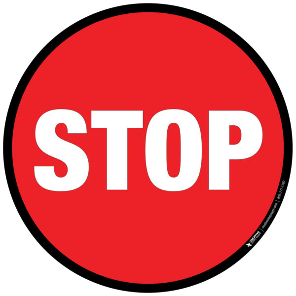 Floor Sign – Round Stop Sign with Black Border