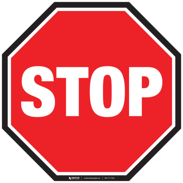 Floor Sign – Stop Sign With Black Border