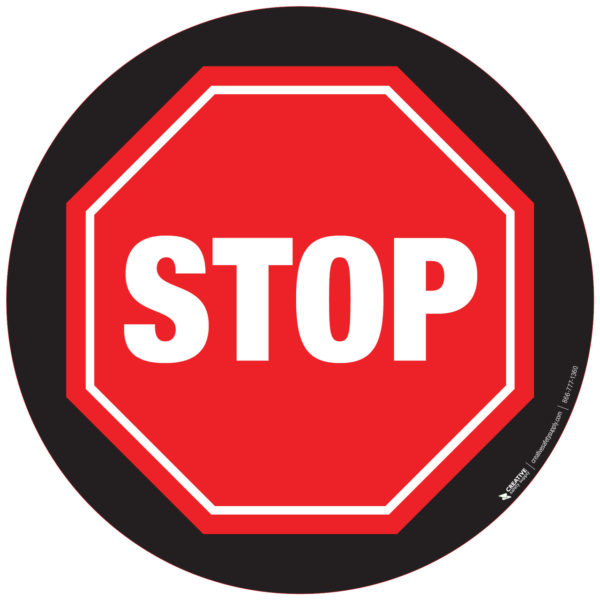 Floor Sign – Stop Sign with Black Background