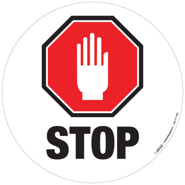 Floor Sign – Stop Sign with Hand