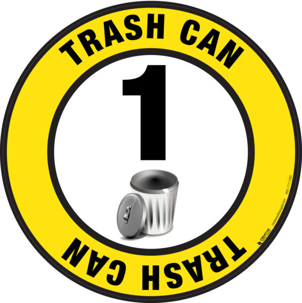 Floor Sign – Trash Can (with numbering)