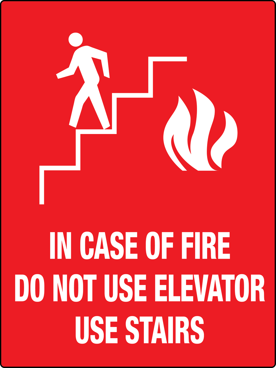 in case of fire do not use elevator sign phs safety