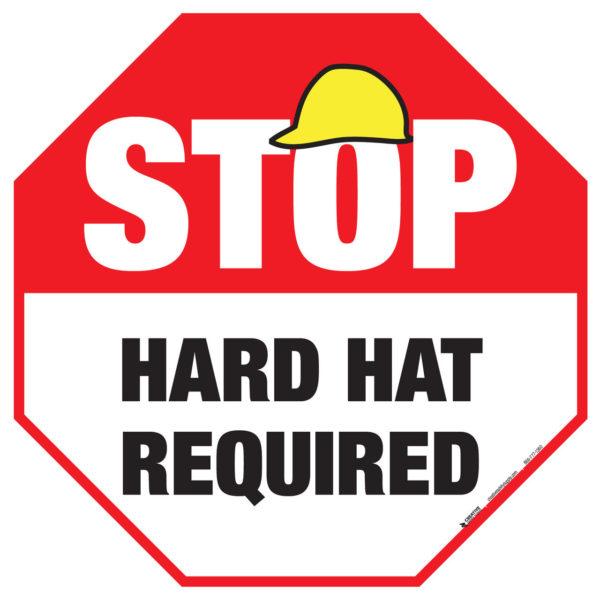 Stop – Hard Hat Required – Floor Sign