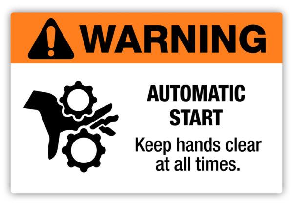 Warning – Automatic Start Label