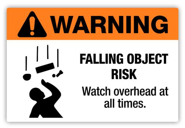 Warning – Falling Object Risk Label