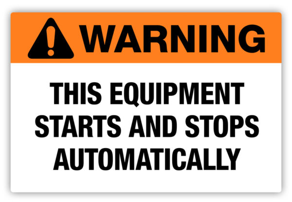 Warning – Starts Automatically Label